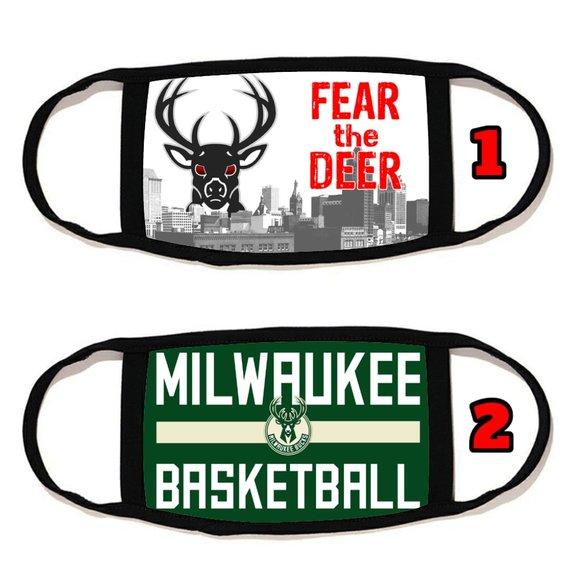 2 PACKS Milwaukee Bucks  face mask face cover